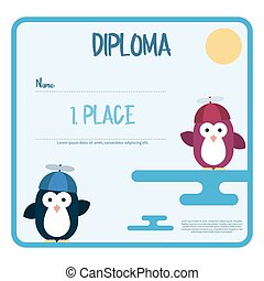 Flat template of diploma decorated with penguins stylized as a children with propeller hat.