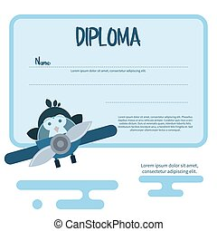 Flat template of diploma decorated with penguin in the airplane.