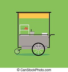 Flat Thai street food vending cart with green background...
