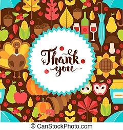 Flat Thanksgiving Day Postcard