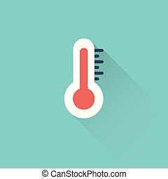 flat thermometer icon on blue background