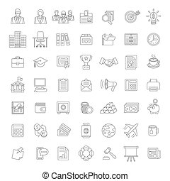 Flat thin line business and finance icons - Set of modern...
