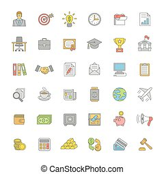 Flat thin line color business and finance icons - Set of...