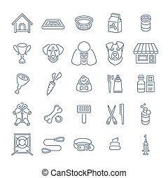 Flat thin line dog care vector web icons