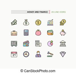Flat Thin Line Icons of Money and Finance