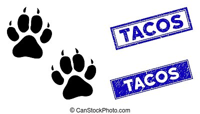 Flat Tiger Footprints Icon and Distress Rectangle Tacos Seals