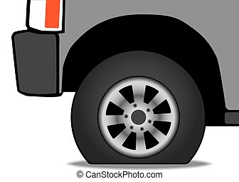 Flat Tire - A vehicle has a flat tire that is in need of...