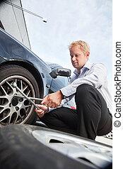 Flat Tire Business Man