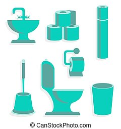 Flat Toilet Icons