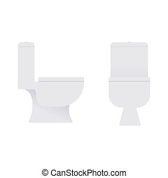 Flat toilet in profile and full face