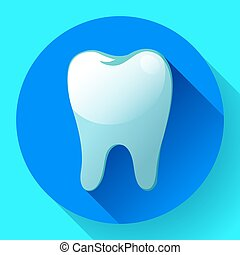 Flat tooth Icon Vector with long shadow. Dentist symbol. Suit for app and UI
