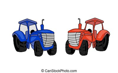 Flat tractor on white background.