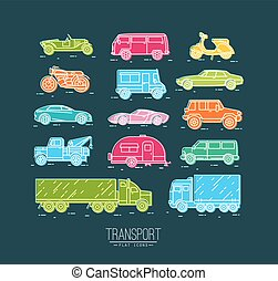 Flat transport icons blue
