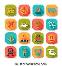 flat transportation icons set