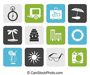 Flat Travel, Holiday and Trip Icons