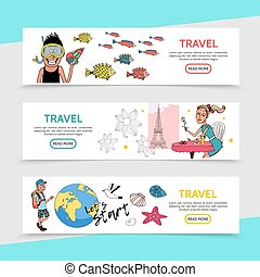 Flat Travel Horizontal Banners