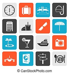 Flat travel, trip and tourism icons