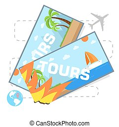 flat travel with hot tours tickets illustration design concept background. eps10 vector