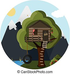 flat tree house in the forest against the background of mountains and lake. Cute vector house for children with a ladder, a tire swing and a camping lantern.