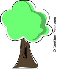 Flat tree, illustration, vector on white background.