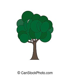 Flat Tree With Green .