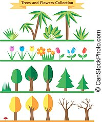 Flat trees and flowers set