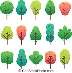 Flat trees set. Garden tree trunk, bush and pine. Nature green landscape vector isolated illustration