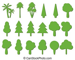 Flat trees. Tree icons with shadow. Vector