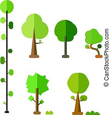 Flat trees vector set with bush