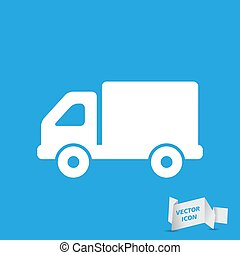 flat truck icon button on a blue background