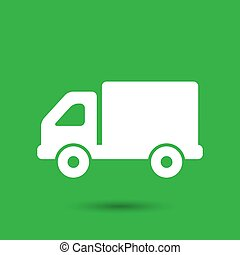 flat truck icon button on a green background