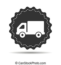flat truck icon button on a white background