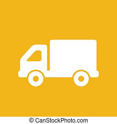 flat truck icon button on a yellow background