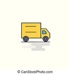 Flat Truck Icon. Vector