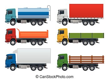 Flat trucks set isolated realistic vehicles on white background. Petroleum tanker, Dump Truck, Refrigerator truck logistics, land transport, delivery side view