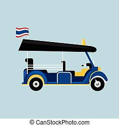Flat Tuk tuk in Thailand vector with Thai flag and isolated background. Thai taxi vector
