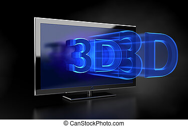 Flat TV - 3D HD concept - Flat HDTV screen