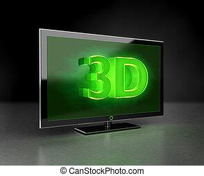 Flat TV - 3D HD concept in green