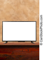 Flat TV With Blank Screen and Copy Space Vertical Format