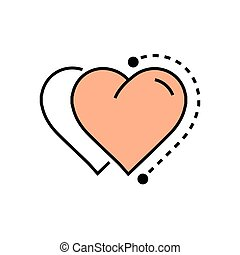 Flat Two Heart Icon dots style