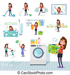 A set of women in the 90's dress related to housekeeping such as cleaning and laundry. There are various actions such as child rearing. It's vector art so it's easy to edit.