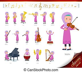 A set of girl on classical music performances. There are actions to play various instruments such as string instruments and wind instruments. It's vector art so it's easy to edit.
