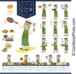 flat type Arab old men_cooking - A set of Arabian old man...