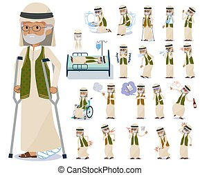 flat type Arab old men_sickness - A set of Arabian old man...