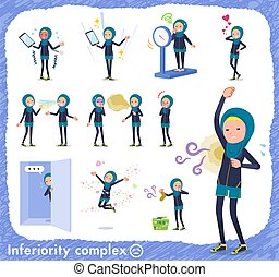 A set of women wearing hijab on inferiority complex. There are actions suffering from smell and appearance. It's vector art so it's easy to edit.