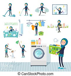 A set of women wearing hijab related to housekeeping such as cleaning and laundry. There are various actions such as child rearing. It's vector art so it's easy to edit.