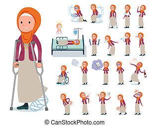 flat type Arab women orange Hijab_sickness - A set of women...