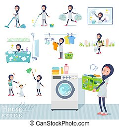 A set of women wearing hijabrelated to housekeeping such as cleaning and laundry. There are various actions such as child rearing. It's vector art so it's easy to edit.