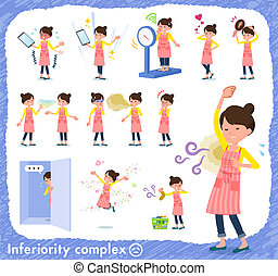 A set of housewife on inferiority complex. There are actions suffering from smell and appearance. It's vector art so it's easy to edit.