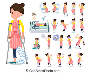 flat type Ballet Bun hair Apron mom_sickness - A set of...